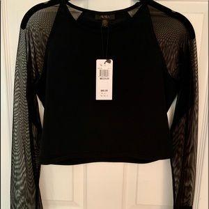 Alala Black Mesh Long Sleeve Crop Top Medium NWT